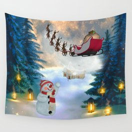 Christmas, snowman with Santa Claus Wall Tapestry