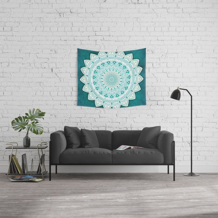 White Mandala on Blue Green Distressed Background with Detail and Textured Wall Tapestry