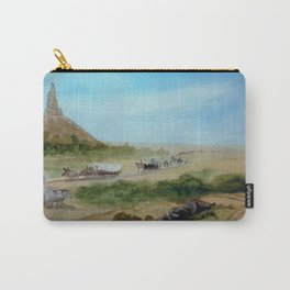 Passing Chimney Rock on the Dusty Oregon Trail Carry-All Pouch