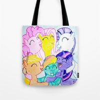 my little pony Tote Bags featuring My Little Pony by Maranda Rae