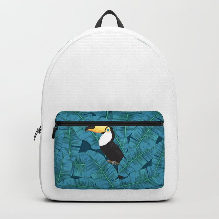 Toucan and banana leaves in blue Backpack