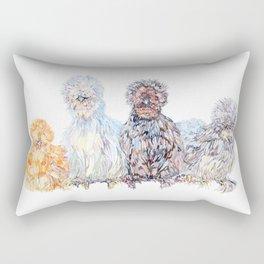 Silkie Chicken Huddle Rectangular Pillow