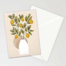 Neutral Lemons // Vase with lemon branches illustration Stationery Cards
