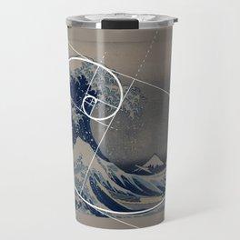 Hokusai Meets Fibonacci Travel Mug