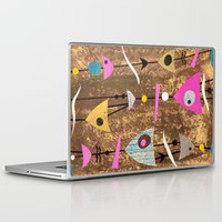 50s Laptop & iPad Skins featuring Retro Fantasy 50s Brown Pink by Beatrice Roberts