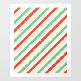 Red And Green Stripes  Art Print