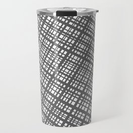 Bauhaus Grid, diagonal Gray & White pattern Travel Mug