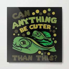Turtles Cute Mother Child Shirt Design Metal Print