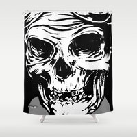 playstation Shower Curtains featuring 102 by ALLSKULL.NET