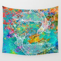 yin yang Wall Tapestries featuring YIN & YANG by AlyZen Moonshadow