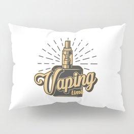 Vintage Vaping Logotypes With Letterings Skeleton Hand Holding Vape Monochrome Style Illustration Pillow Sham