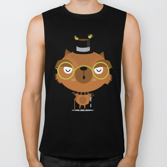 Cat with hat Biker Tank