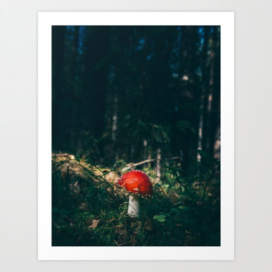 Little Red Mushroom in the Forest Art Print