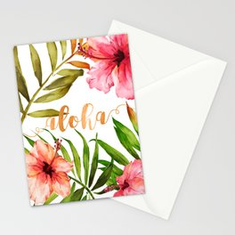 Aloha Watercolor Tropical Hawaiian leaves and flowers Stationery Cards