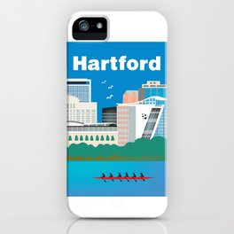 Hartford, Connecticut - Skyline Illustration by Loose Petals iPhone Case