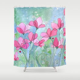 Celestial Strawberry Fluff Shower Curtain