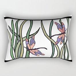 pink dragonfly in the grass . art Rectangular Pillow