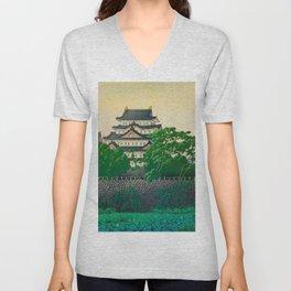 Kawase Hasui Vintage Japanese Woodblock Print Nagoya Castle Unisex V-Neck