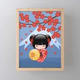 Japanese Red Sakura Kokeshi Doll on Blue Framed Mini Art Print