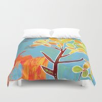 western Duvet Covers featuring Western Wallflower by Eliza Lynn Tobin