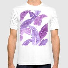 Purple Palms White MEDIUM Mens Fitted Tee
