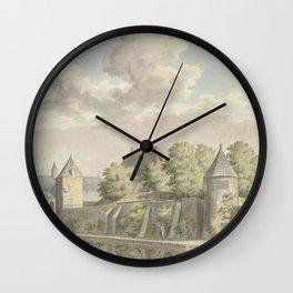 Cornelis Pronk - The town of Geervliet and part of Hof van Putten Castle (1750) Wall Clock