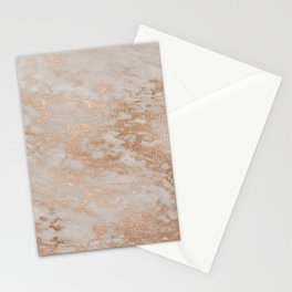 Rose Gold Copper Glitter Metal Foil Style Marble Stationery Cards