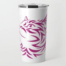 Looking Left Cat Kitten Face Stencil Travel Mug