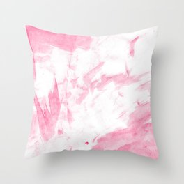 Blush pink white hand painted watercolor brushstrokes Throw Pillow