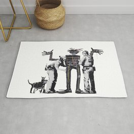 Banksy Boy and Dog in a Stop and Search Basquiat Homage Artwork, Capitalism Criticism, Artwork for P Rug