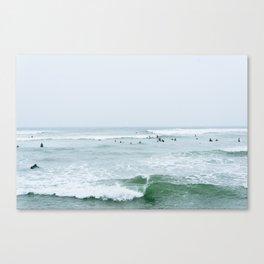 Tiny Surfers Lima, Peru 3 Canvas Print