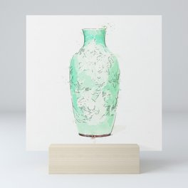 A CELADON-GLAZED SLIP-DECORATED 'PEONY' VASE, GUANYIN ZUN QING DYNASTY, 19TH CENTURY watercolor by A Mini Art Print