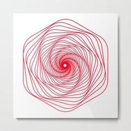 Red Minimal geometric mandala design Metal Print