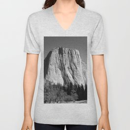 Mountain of Stone in Black and White Unisex V-Neck