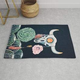 Cow Skull and Cacti on a Wolf Blood Moon Rug