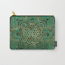 Flower of Life in Lotus - Malachite and gold Carry-All Pouch