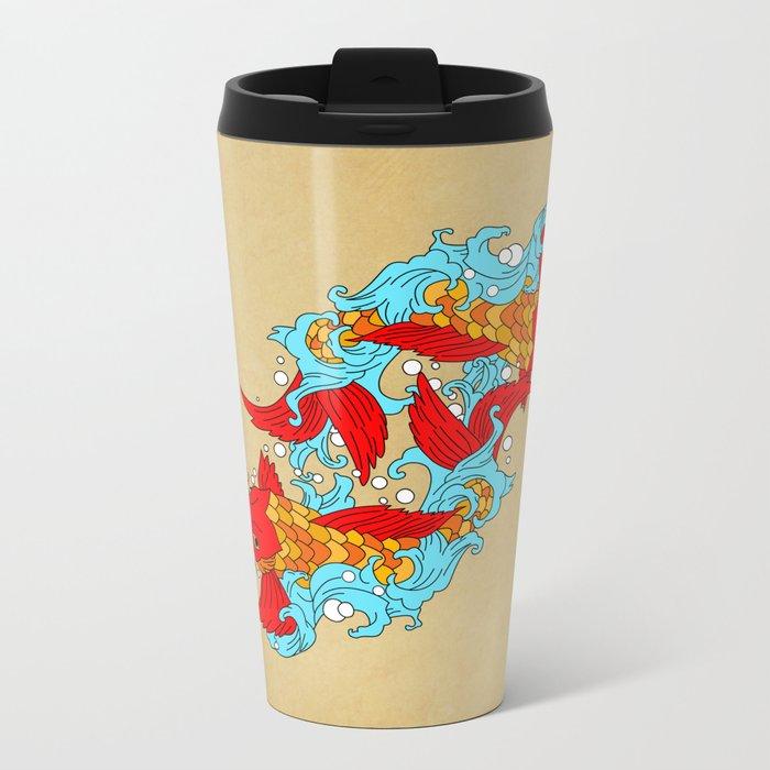 gold fish Metal Travel Mug