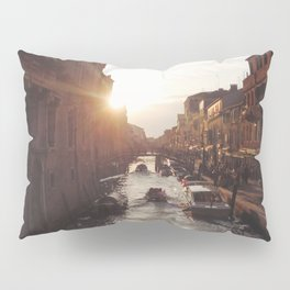 BOAT - STREETS - RIVER - TOWN - LIFE - CULTURE - PHOTOGRAPHY Pillow Sham