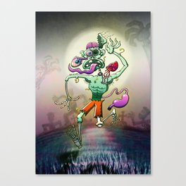 Zombie in Trouble Falling Apart Canvas Print