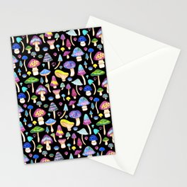 Colorful Mushroom Watercolor on Black Stationery Cards