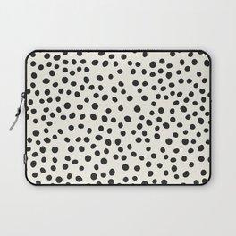 Black Decorative Dots on White, Minimalist line drawing, Modern art print with dots. Laptop Sleeve