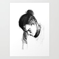 harry styles Art Prints featuring Braids by Judit Mallol