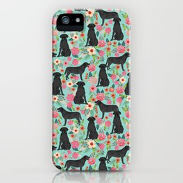 Labrador Retriever black lab floral dog breed gifts pet patterns florals black labs iPhone Case