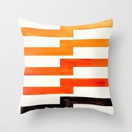 Orange & Black Geometric Minimal Mid Century Modern Lightning Bolt Pattern Watercolor Art Throw Pillow