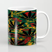 rasta Mugs featuring Rasta Leaves... by Cherie DeBevoise
