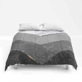 Marble Gray Copper Black Gold Chevron Comforters