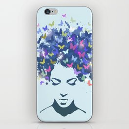 Woman with the hair made of butterflies iPhone Skin