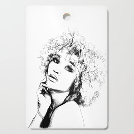 Black Woman Portrait Minimal Drawing Cutting Board