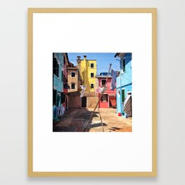 Laundry Day In Burano. Framed Art Print