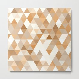 Pale Orange Taupe Brown Pastel Colors Triangles Polygon Pattern Metal Print